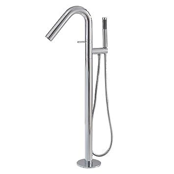 Modern Floor Mount Brass Bathroom Filler Tap with Hand Shower Faucet Solid Black