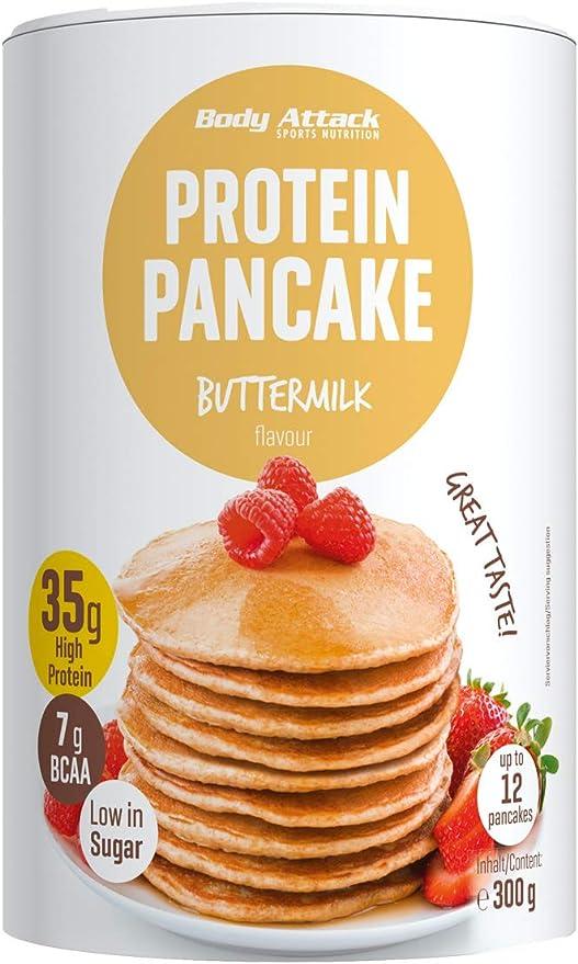 Body Attack Protein Pancake Mix, proteína en polvo para tortitas con 35% de proteína, pierda peso rápido y fácil con la mezcla para hornear baja en ...