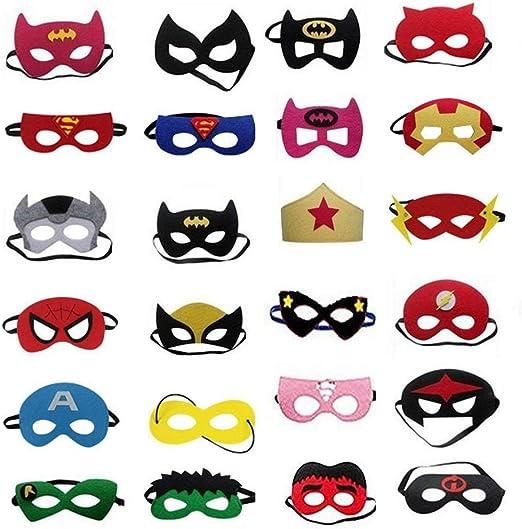 ZARRS Máscaras de Superhéroe,24 Pack Máscaras de Cosplay de Superhéroe Fieltro Suministros de Fiesta de Superhéroes con Cuerda Rlástica para Niños Adultos Bolsa de Fiesta: Amazon.es: Hogar