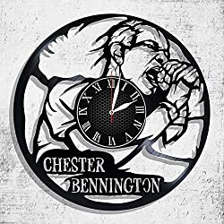 BombStudio Chester Bennington Vinyl Record Wall Clock, Chester Bennington Handmade for Kitchen, Office, Bedroom. Chester Bennington Ideal Wall Poster