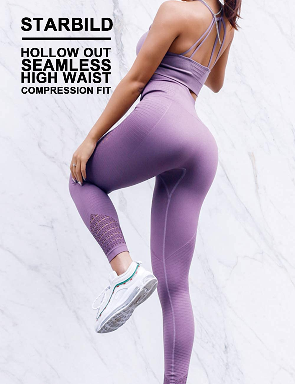 STARBILD Women Hollow Out Seamless Leggings High Waist Tummy Control Full Length Compression Sport Pants Running Jogging Slimming Training Exercise Fitness Tights