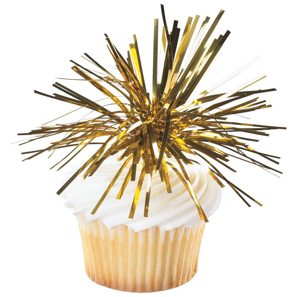 Baking Addict Cupcake Topper Decorations Cake Pop Dessert Decorating Picks Mylar Spray Gold, Wholesale Case of 240 (10 Packs of 24)
