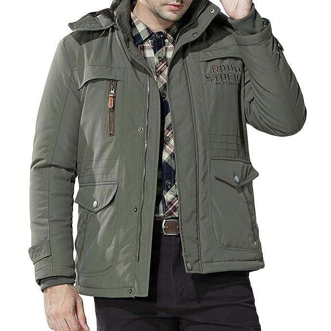 Winterjacke Herren ASHOP Winter Parka Multi Taschen Wintermantel Männliche Kragen Kapuze Dicke Warme Mantel Kapuzenpullover Pulli
