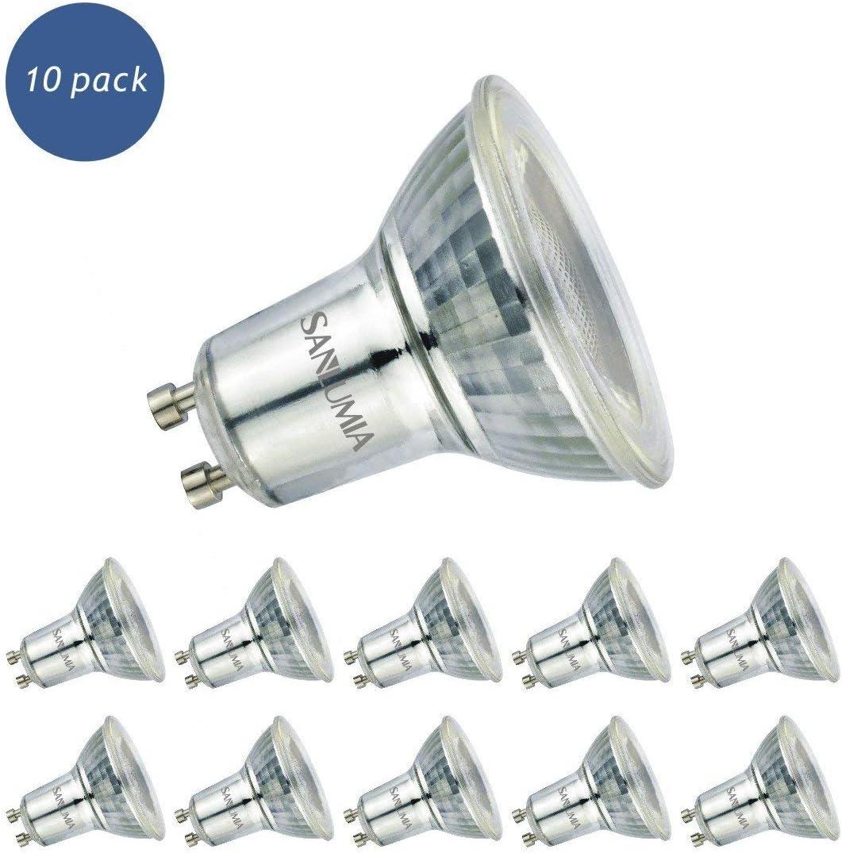 Sanlumia Bombillas LED GU10, 6W = 75W Halógena, 500Lm, Blanco Cálido (3000K), Iluminación de Techo para Cocina, Oficina, o Baño,38° ángulo de haz,Paquete de 10[Clase de eficiencia energética A+]