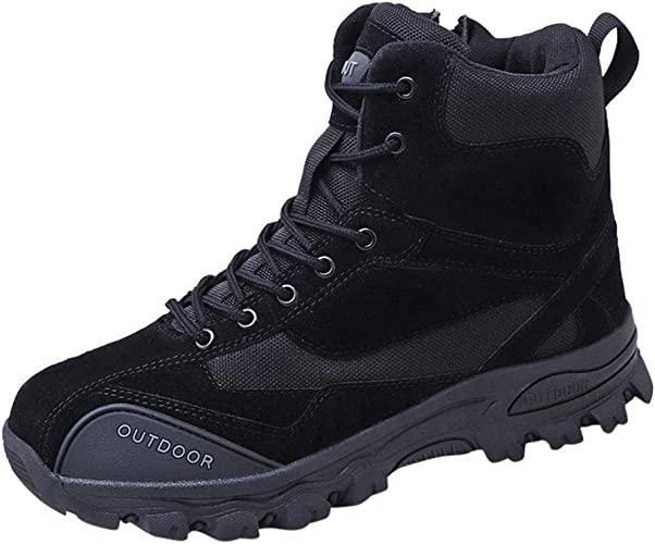 Men/'s Hiking Boots Backpacking Boots High Top with Side Zipper Combat Shoes