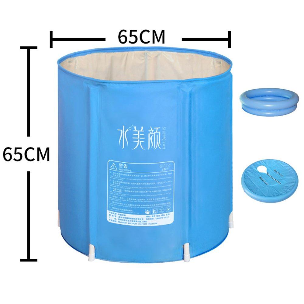Vasca da bagno di plastica Pieghevole Portatile Gonfiabile Adulti Vasca idromassaggio Totale Colore : A, Dimensioni : 65 * 65CM