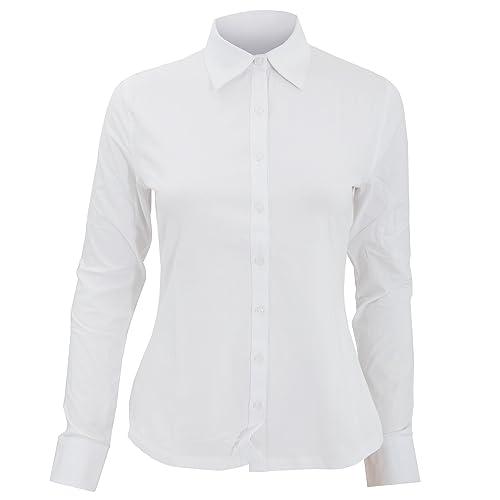 Russell Collection- Camisa elástica de manga larga para mujer
