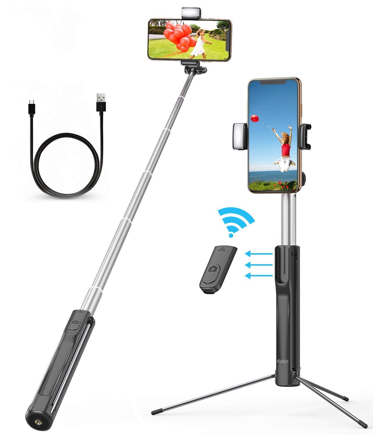 Selfie Stick, VPROOF 45 Inch Extendable Rechargeable 3 Levels Fill Light Bluetooth Selfie Stick Phone Tripod with Detachable Remote for iPhone Xs Max/XR/X/8 Plus, Galaxy S10 Plus/Note 9 (Black) by Vproof