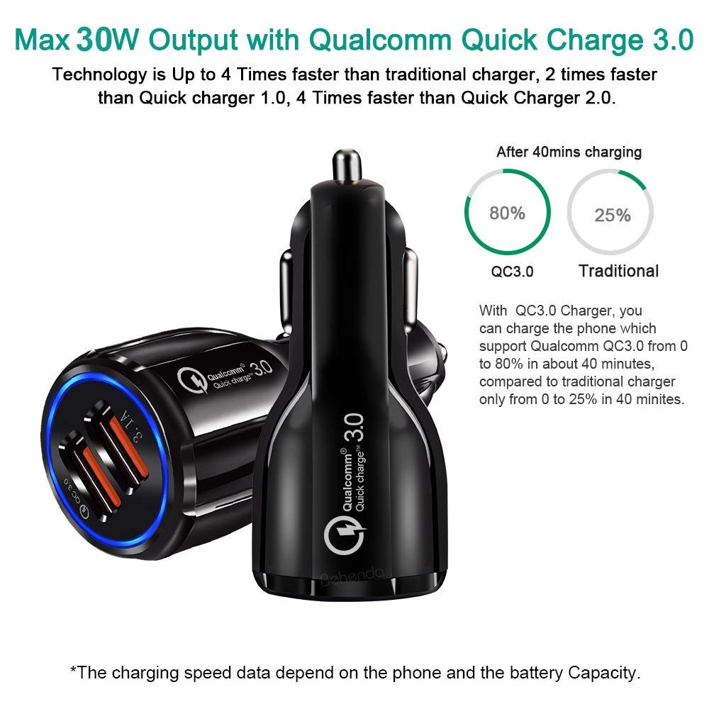 Car Charger Adapter - USB Dual Smart Port, Max 30W Output with Qualcomm-Quick Charge 3.0 - Multiple Fast Charging - Compatible for iPhone, Samsung and Android Mobile Phones - Black by MR great quality