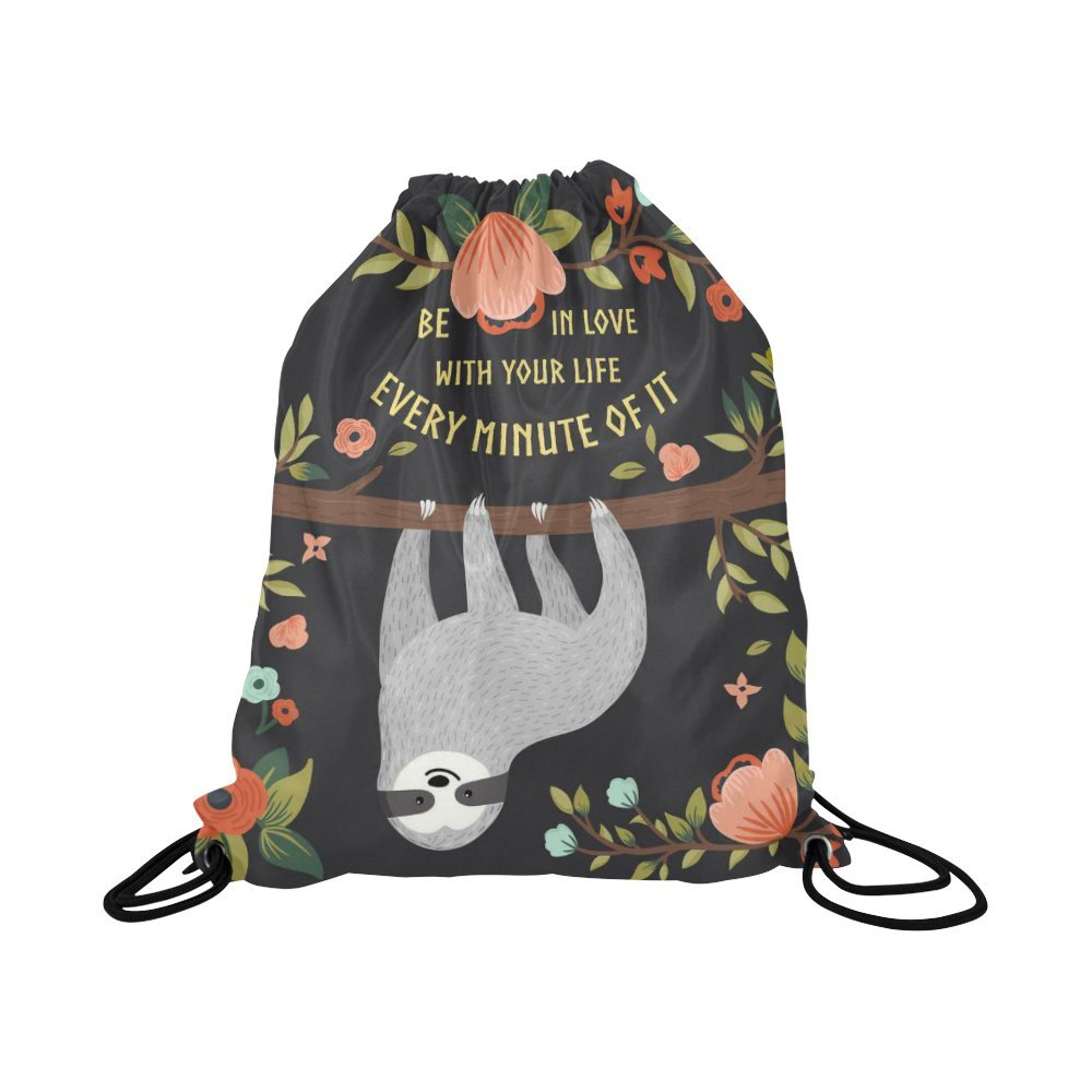 InterestPrint Funny Sloth Love Your Life Drawstring Backpack School Travel Daypack Gym Bag
