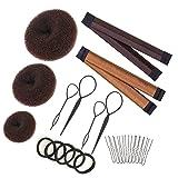 Hair Bun Maker Set Brown/Blonde/Black, The EASIEST Way to Make Buns, 3 Donuts + 2 Snap Bun Makers + 4 Topsy Tail Hair Tool + 5 Hair Elastic Bands + 10 Bobby Pins (Color: Brown)