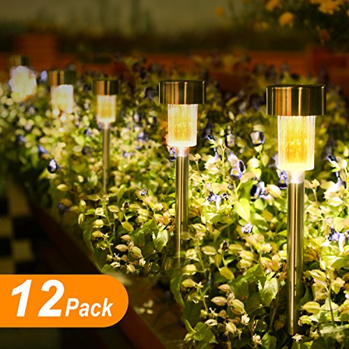 Boomile 12Pack Outdoor Garden Lights, LED Solar Powered Pathway Lights, Stainless Steel Landscape Lighting for Lawn/Patio/Walkway/Driveway (Warm White)