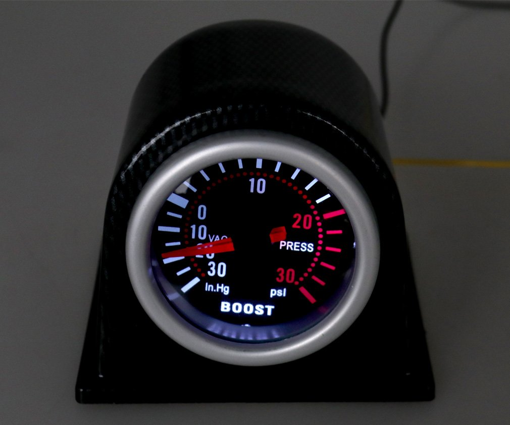 52mm Turbo Boost Pressure Pointer Gauge Meter Smoked Dials 30Psi Pob LED Kits Micro Trader