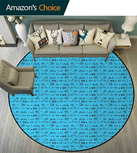Blue And Black Warm Soft Cotton Luxury Plush Baby Rugs,Doodle Style Cinema Movie Theater Icons Camera Seat Popcorn Clapper Kids Teepee Tent Game Play House Round Diameter-47 Inch,Pale Blue And Black