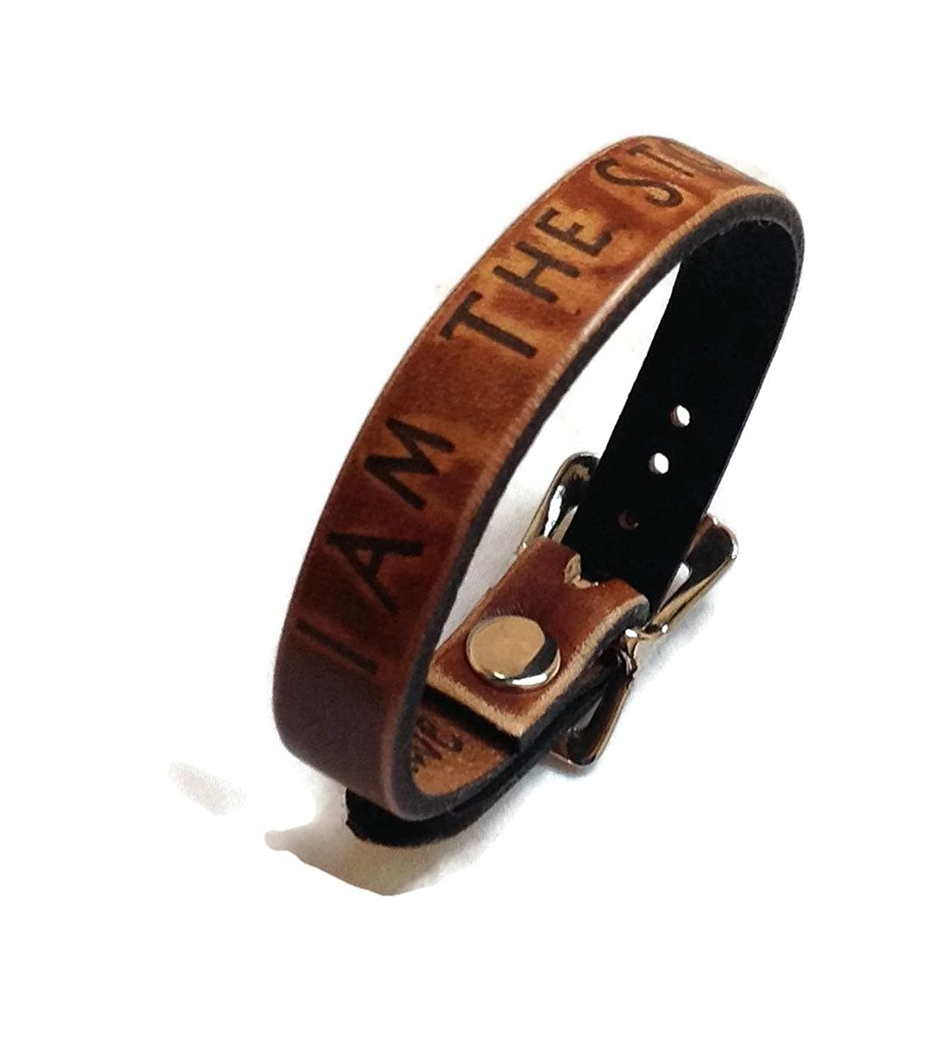 """I Am The Storm"" Inspiration Collection Leather Bracelet 1/2"" Wide Made in USA"