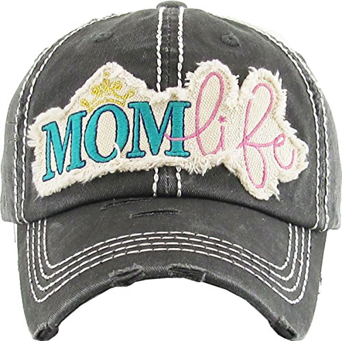 H-212-ML06 Distressed Baseball Cap - Mom Life (Black) ()