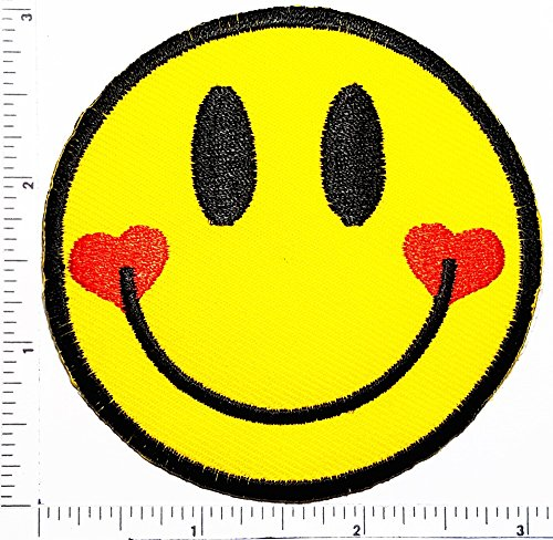 (Smiley Face Emoji Heart Cartoon Motif Patches Smile Face Iron on Applique for Cloth Sticker Great as happy birthday gift)