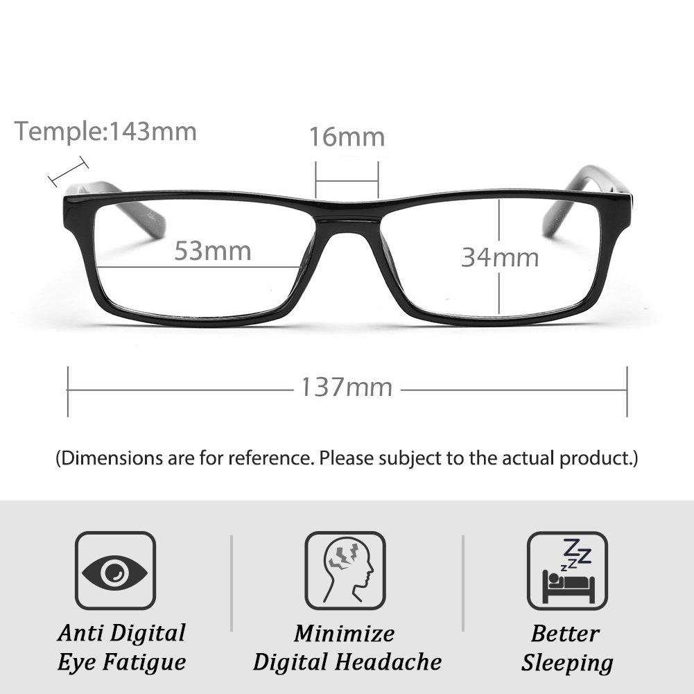 Blocage des UV Unisexe Anti Fatigue oculaire Transparent lentille Noir Cadre Flexible Printemps Cyxus Filtre Bleue lumi/ère Lunettes rectangulaire Cadre Hommes//Femmes