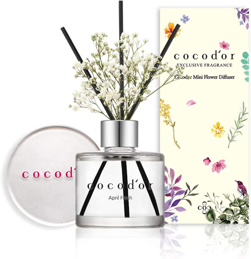 Cocod'or Mini Flower Reed Diffuser/April Breeze / 1.6oz(50ml) / 1 Pack/Fragrance Decor for Cars Cubicles, Small Rooms and Home, Diffuser Oil Sticks Gift Set