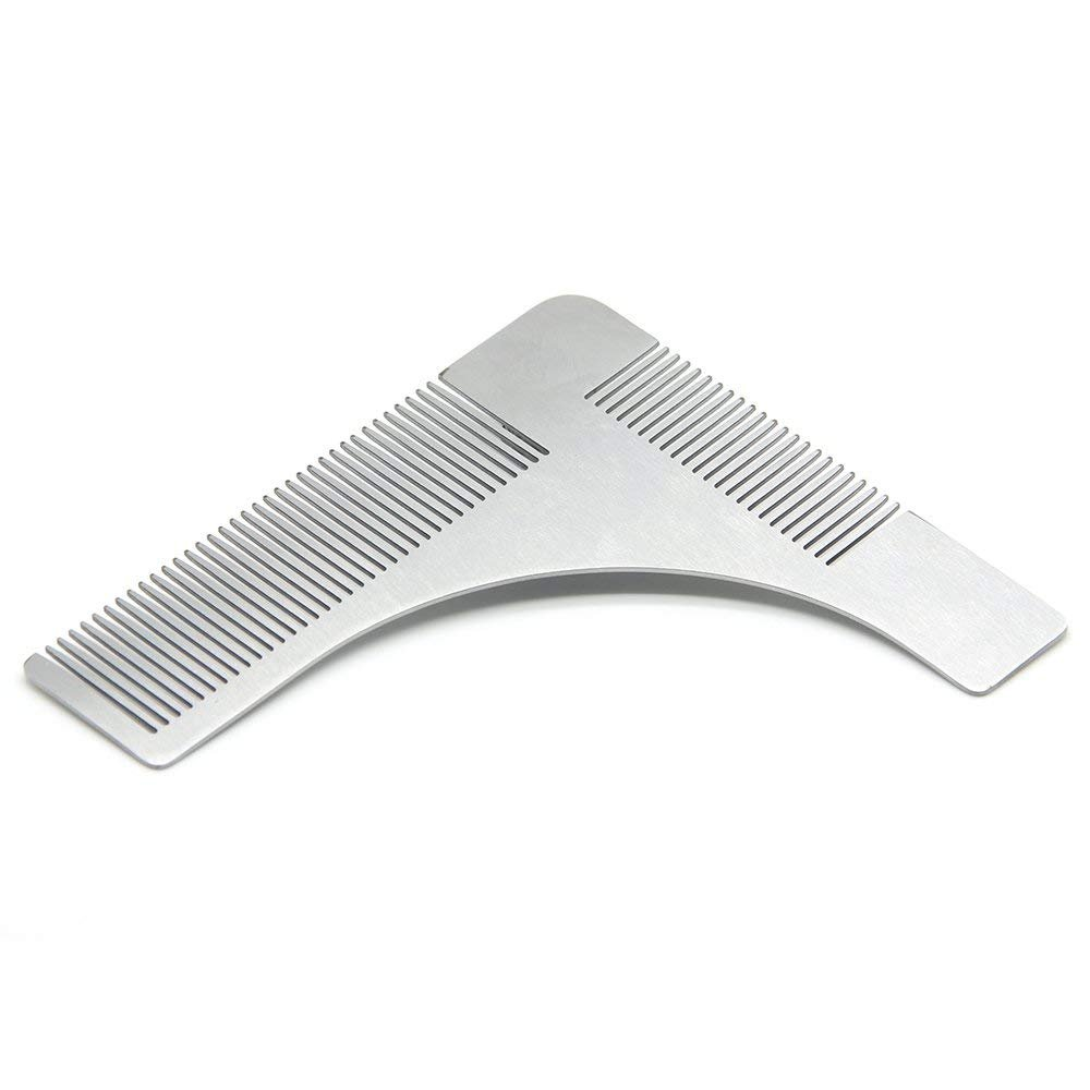 CUGLB Stainless Steel Beard Styling and Shaping Template Comb Tool for Perfect Lines & Symmetry