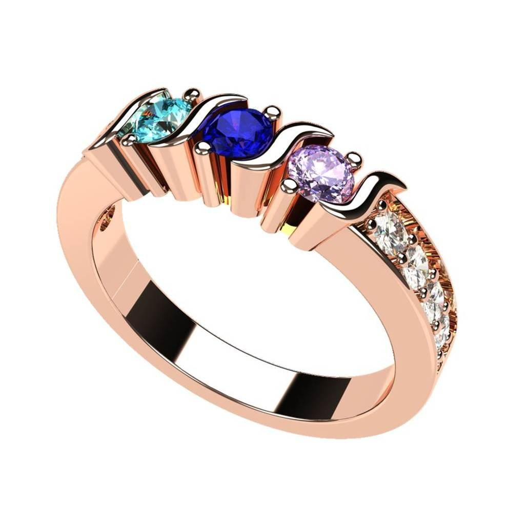 NANA S-Bar With Sides Mother's Ring 1 to 6 Simulated Birthstones in Sterling Silver or 10 karat Solid GOLD Central Diamond Center 16-10314-P