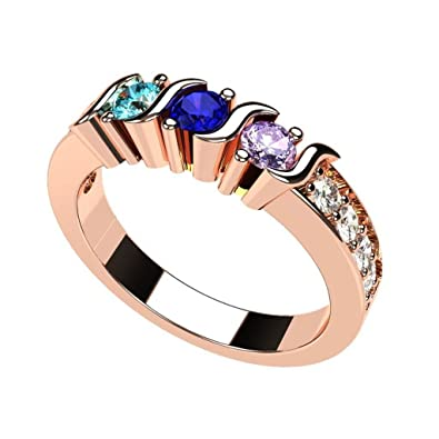 ce7bd860c1c84 Central Diamond Center Nana S-Bar with Sides Mother's Ring 1 to 6 Simulated  Birthstones in Sterling Silver or 10 Karat Solid Gold
