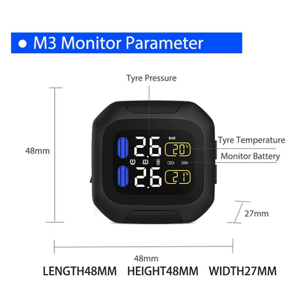 CAREUD TPMS Syst/èmes solaires de Surveillance de la Pression des pneus avec 4 capteurs externes et affichages en Temps r/éel 4 Pression et temp/érature des pneus