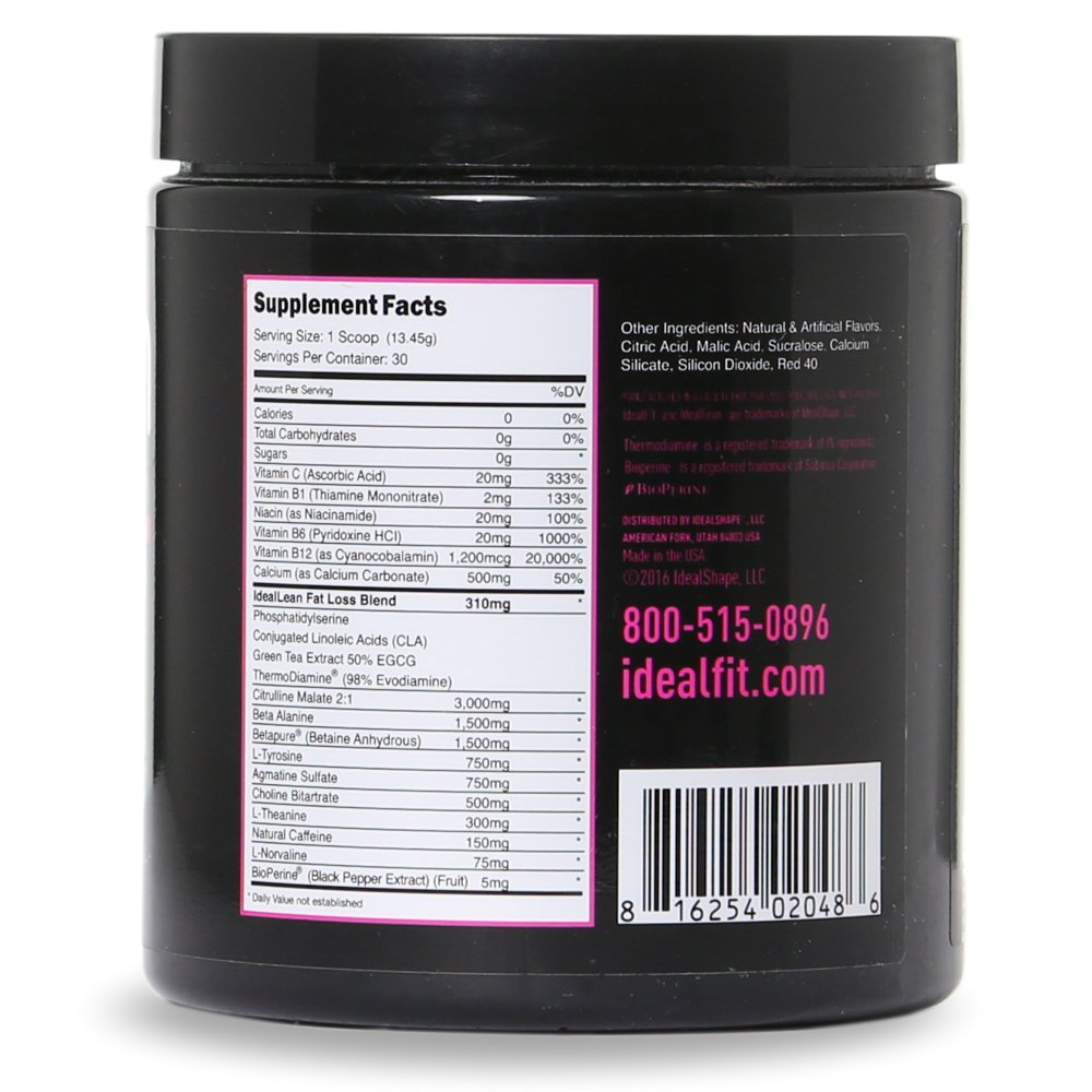 IdealLean, Best Pre Workout For Women - Energy Boost, Increase Training Intensity, Mental Focus, Results, Beta-Alanine, Low Calorie & Healthy, 30 - Servings (Cherry Limeade) by IdealFit (Image #6)