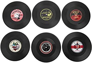 Retro Record Coasters for Drinks, Vinyl Record Disk Coasters, Colorful Vinyl Disk Coasters, Effective Prevent Furniture from Dirty and Scratched 4.15in (6 PCS)