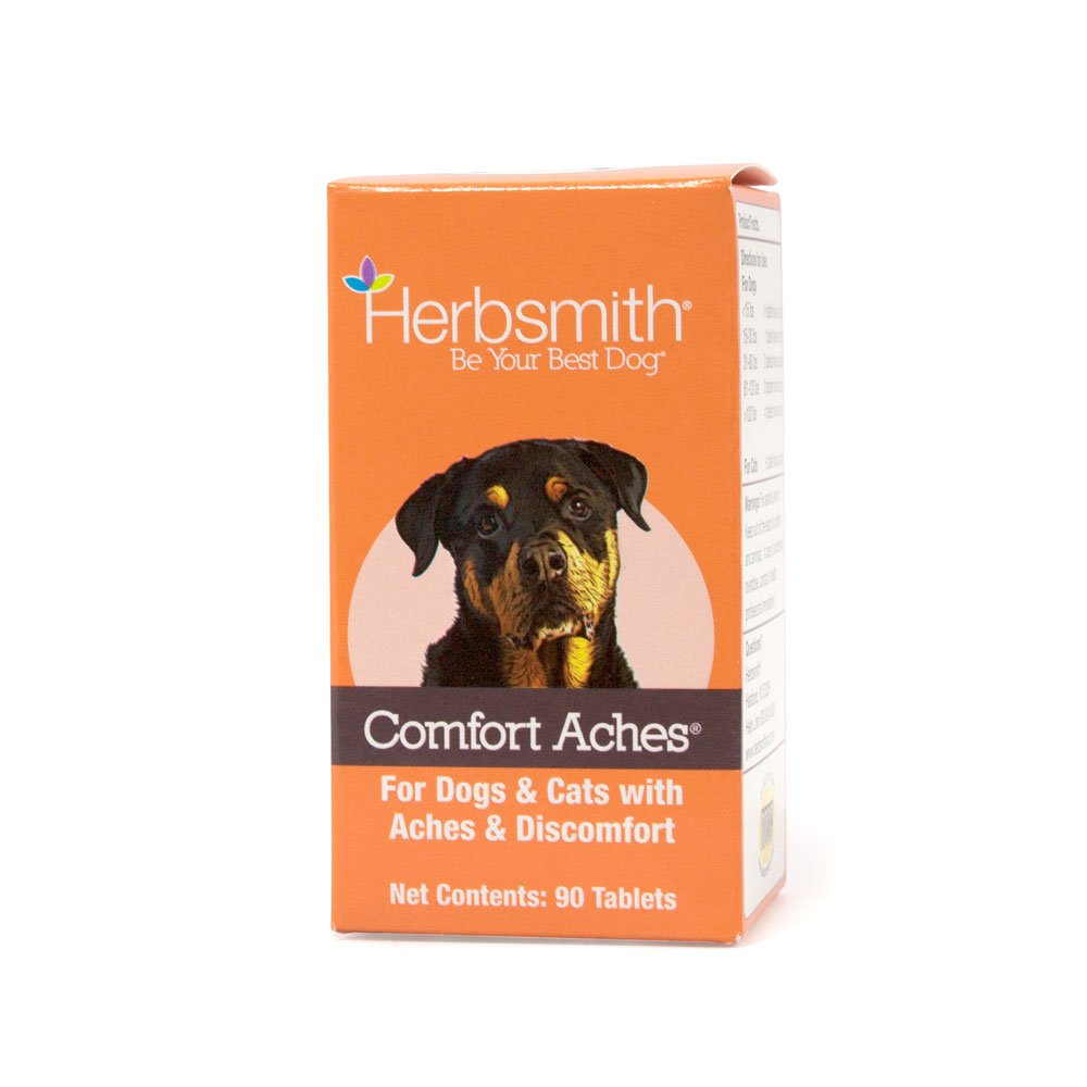 Herbsmith Comfort Aches – Herbal Pain Relief for Dogs + Cats – For Pet Aches + Pains – Anti-Inflammatory Supplement – 90 Tablets
