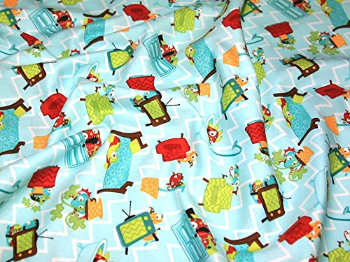 Blue Fq Quilting Fabric - Camelot Fabrics Monster Mash Hide Seek Quilting Fabric Blue - per fat quarter