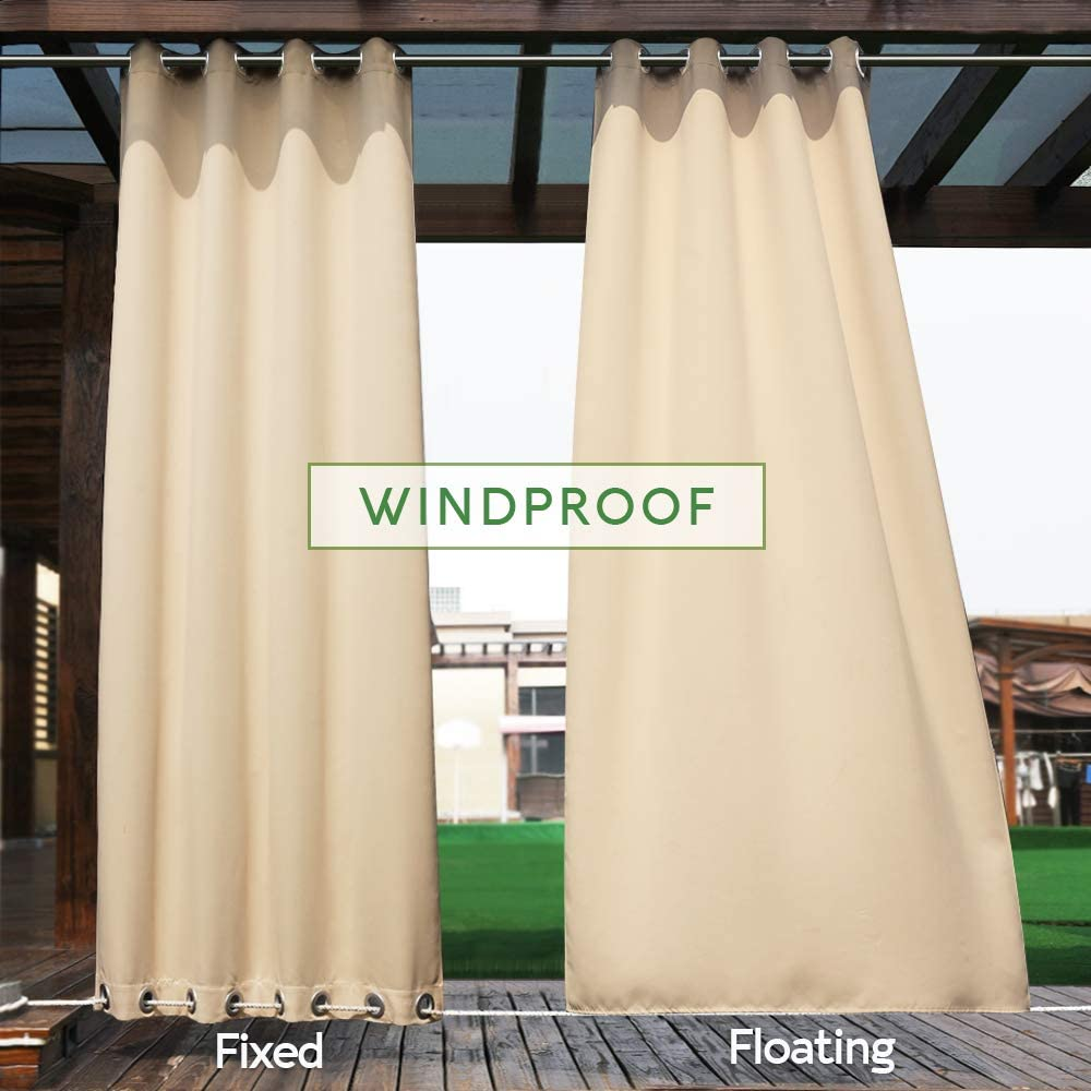 Thermal Insulated Keeps The Rain Out Versatile Vertical Drape NICETOWN Outdoor Curtain Grommet Top and Bottom Blackout Heavy Weight Wind Break Outdoor Drapery 52 by 108 inches,1 Piece, Tan-Khaki