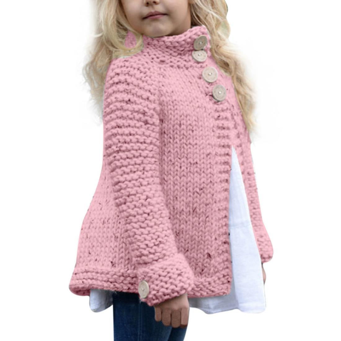 DEESEE(TM)) Toddler Baby Girls Outfit Button Knitted Sweater Cardigan Coat Tops for 2-8 Years Old