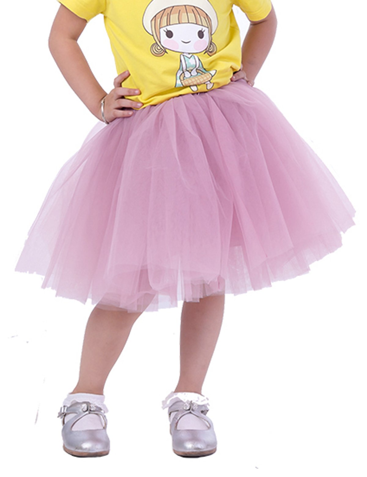 Classic 7 Layers Fluffy Baby Girls Tulle Skirt Princess Ballet Dance Tutu For Christmas Party, (Dusty Pink)  3-10T