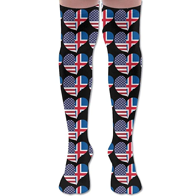 USA Flag Iceland Tube Socks Cotton Thigh High Compression Socks