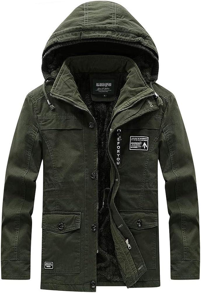 AILMY Mens Fleece Jackets Cotton Heavyweight Big /& Tall Zip-up Hoodie Casual Mid-Length Jacket