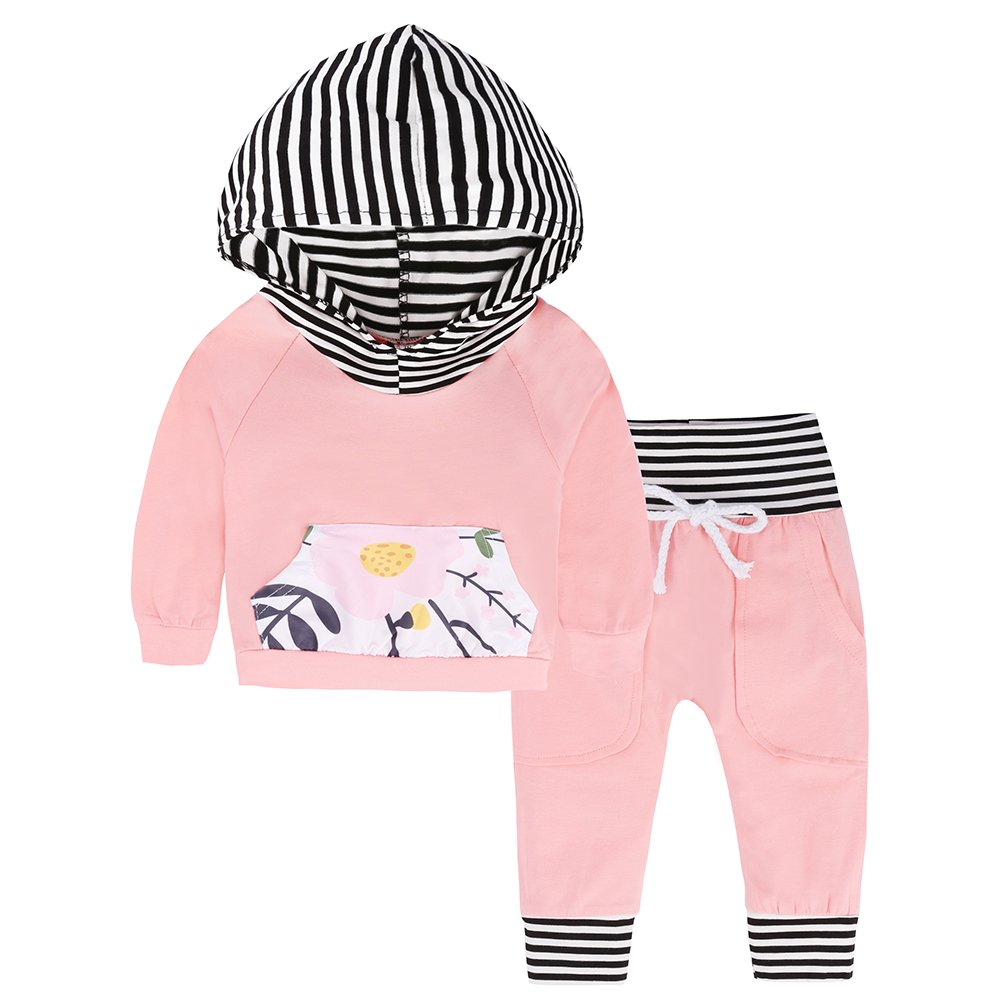 9840e7ea Infant Baby Girl Christmas Outfits Set Long Sleeve Hoodie Sweatsuit Tops + Pants  Toddler Girls Winter Clothes (Pink + Black White Stripe, 9-12 Months)