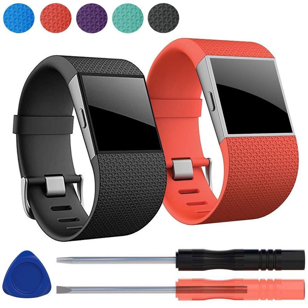 EEEKit 2 Packプレミアムシリコン交換用リストバンドストラップメタルバックルクラスプ付きFitbit Surge腕時計Fitness Trackerなど、スクリュードライバーツールキット B075R5TFV3 Black+Orange Black+Orange