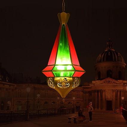 araña de Estilo árabe Manual Pasillo de la Soldadura Café del Restaurante Lámpara de Vidrio Cuerpo de luz cálida Retro Cristal Rojo Cristal Verde: ...