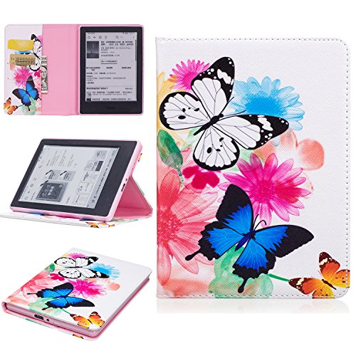 Kindle (8th Gen,2016) Case, Dteck Slim Light Synthetic Leather Wallet Case Pretty Cute Cartoon Flip Folio Stand Cover for Amazon Kindle E-reader 2016-Blue White (Reader White Box)