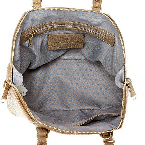 Trussardi Jeans Borsa a Mano da Donna con Tracolla in Eco Pelle Stampa Dollaro �?32x25x15 Cm - Mod. 75B701BM Fango