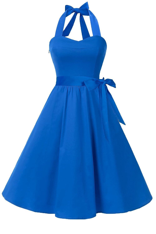 Abluee Topdress Women'sVintage Polka Audrey Dress 1950s Halter Retro Cocktail Dress