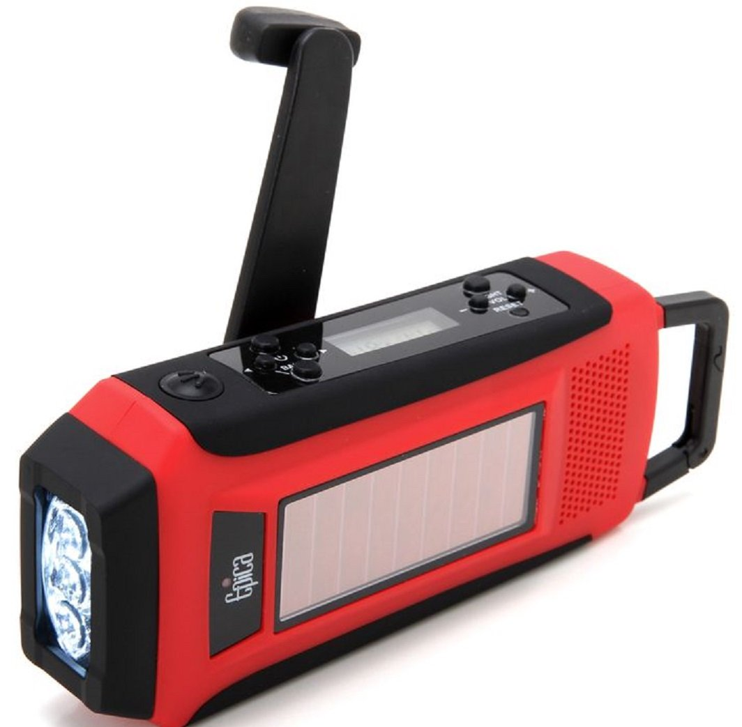 Epica Digital Emergency Solar Hand Crank AM/FM/NOAA Radio, Flashlight,  Smartphone Charger with NOAA Certified Weather Alert & Cable-ONE Cable Does  All