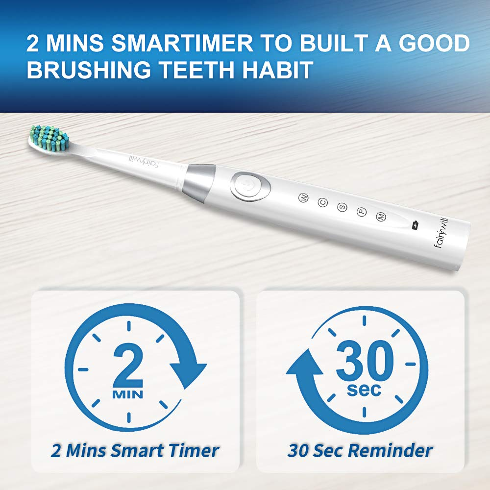 Fairywill Sonic Toothbrush with 5 Modes Charged 4 Hours at Least 30 Days  Use, Electric Toothbrush Rechargeable with 4 Toothbrush Heads and 2 Mins