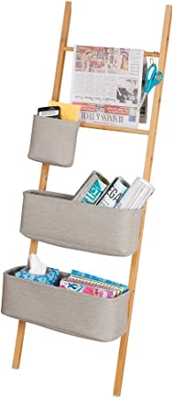 mDesign Estanteria de escalera en bambu – Sin taladro – Mueble auxiliar con cestas de tela, perfecto como organizador de escritorio para agendas, archivadores y cuadernos – Natural / gris: Amazon.es: Hogar