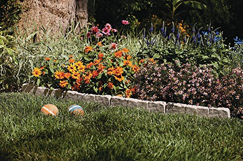 Suncast Interlocking Border Edging - Stone -Like Poly Construction for Garden, Lawn, and Landscape Edging - Waterproof Border for Containing Trees, Flower Beds and Walkways - Light Taupe -Gray