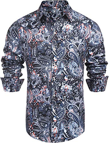 Daupanzees Men's Paisley Cotton Long Sleeve Casual Button Down Shirt (Navy Blue XL)