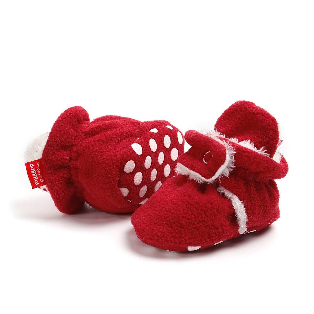 Cooljun 0-18 Mois Chaussons B/éb/é Filles Gar/çon Bottes Chaud Souple Mignon Coton Doux Enfant Pr/émarche Chaussures 6~12 Mois, Beige A
