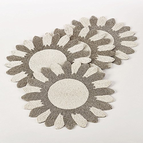 Multi Color Flower Design Beaded Placemat 14'' Round , (4 Piece Set) by Occasion Gallery