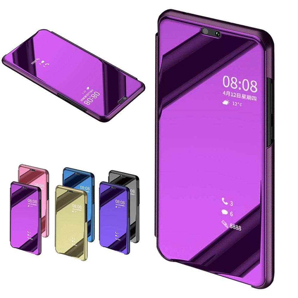 Nadoli fü r Huawei Honor 8X Spiegel Hü lle, Mirror Effect PU Leder Hü lle Transparent Handytasche Flip Cover Standfunktion fü r fü r Huawei Honor 8X, Rose Gold